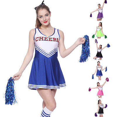 Women Cheerleader Uniform School Girl Fancy Dress Costume Outfit Pompom or Socks
