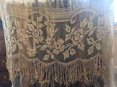 """Antique Embroidered Curtain 1900 French Net Lace Fringe 54"""" X 21""""1/2"""