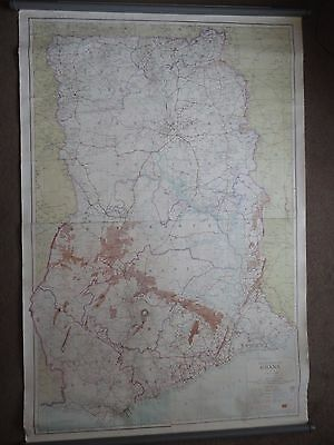 Large 1986 Wall Hanging Road Map of Ghana 7th edt 152 x 104cm Africa