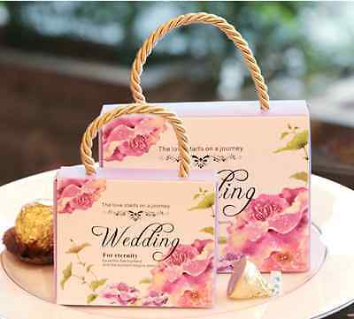 50pcs Wedding Engagement Birthday Party Cake Candy Favor Gift Boxes