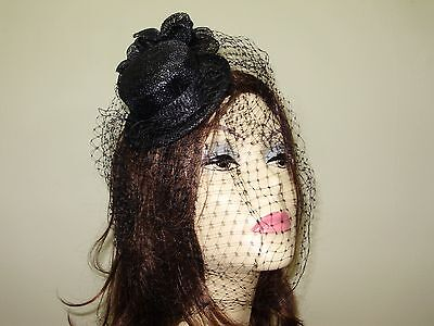 "Black Mini Top Hat Sinamay Hat With Netting 5"" Wide Hair Comb Attached Hats"