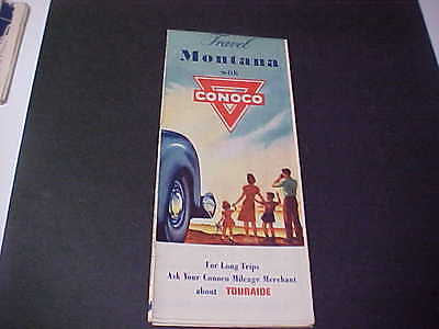 1940's Montana Road Map CONOCO Oil Company