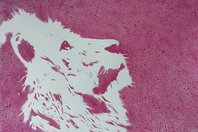 Huge, A2 Original Watercolour Painting Signed J Flavell The Lion, pink,beautiful