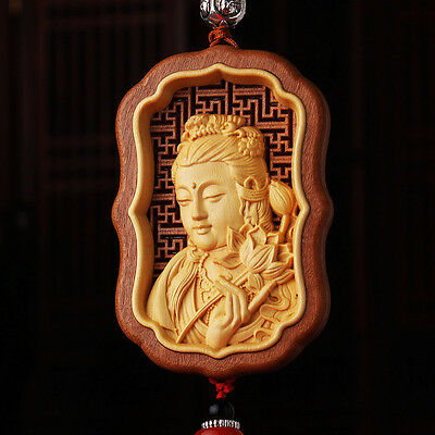 Hollow Out inlay Wood Carving Chinese Kwan Yin Head Sculpture Amulet Car Pendant