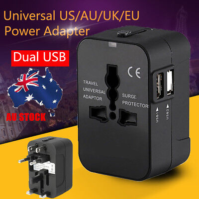 Universal Power Charger Adapter 2 USB Converter Travel Power Plug US/AU/UK/EU