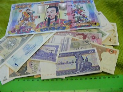 Lot of 20 uncirculated World Banknotes, plus 5 Chinese Temple Money..so 25 total