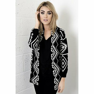 Ladies Womens Knitted Aztec Knitted Print Cardigan in Black Size 8-14