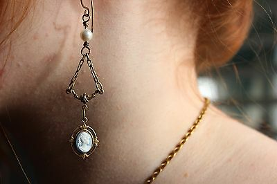 Blue Cameo Pearl Earrings, Victorian Drops Prom, Mother's day or Graduation gift