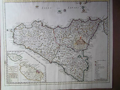 ORIGINAL ANTIQUE MAP of SICILY published by COVENS & MORTIER 1760