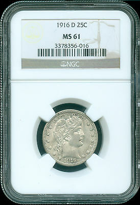 1916-D Barber Quarter Ngc Ms-61 (1721836)