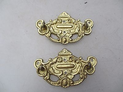 Victorian Brass Drawer Handles Pulls Cabinet Hardware Antique Gilt Gold Old x2