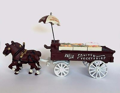 Vintage Cast Iron Horse Drawn Fruit & Vegetable Cart Reproduction Toy Wagon