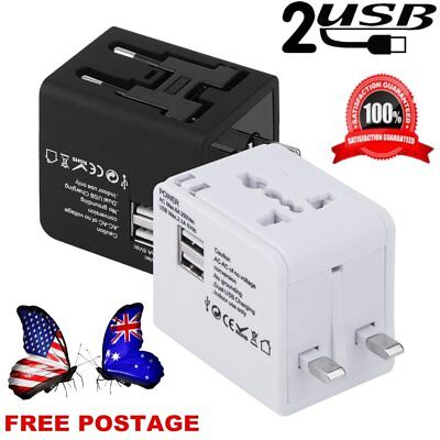 Hot Universal World Travel Adapter Dual 2 USB Plug Charger AC Power UK US EU AU