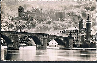 German Postcard Heidelberg Castle From The River 1956