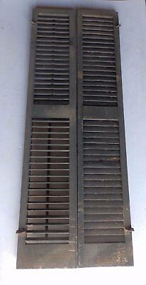 Pair Antique Window Wood Louvered Shutter Shabby Old Chic Vtg 69x13 468-17R