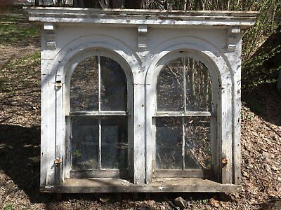 Complete 1850 Antique Double Arched Victorian Window Shabby Vtg Chic 262-17E
