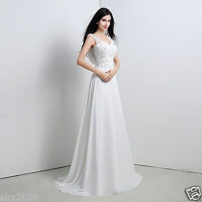 New Lace White/Ivory Wedding Dress Bridal Gown Stock Size 6 8 10 12 14 16