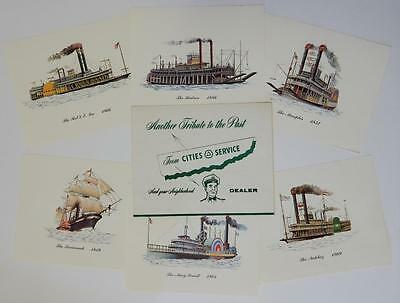 Vintage Cities Service Promo American Steamboat Portfolio Set of 6 Color Prints