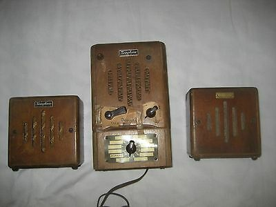 Executone Twinphone Intercom Model 255 With 2 Speakers Lights Up Wood Vintage