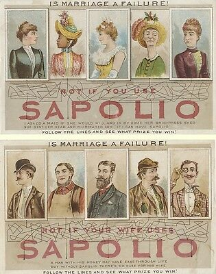 Victorian Trade Card - Is Marriage a Failure! Not If You Use Sapolio