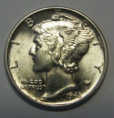 1943 Mercury Head Silver Dime Grading Choice Uncirculated Nice Original Coins