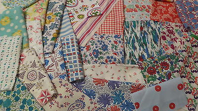 "Lot of 30 Vintage Feedsack 5""+++Squares Blocks Pcs Quilt top CRAFTS Dolls FABRIC"