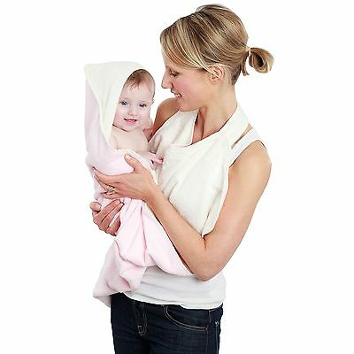 Cuddledry Hands Free Baby Bath Towel With Apron & Hood - Soft Pink