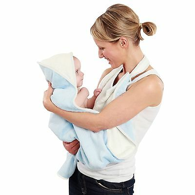 Cuddledry Hands Free Baby Bath Towel With Apron & Hood - Soft Blue