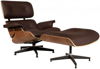 Mid-Century Eames Lounge Chair & Ottoman Reproduction REAL Leather Brown Walnut