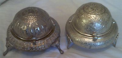 2 x Vintage Tin Roll Over Breakfast Dishes