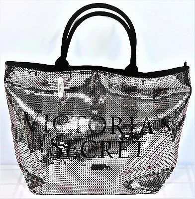 Victoria's Secret Limited Edition Striped Sequin Weekender Travel Tote Bag Large