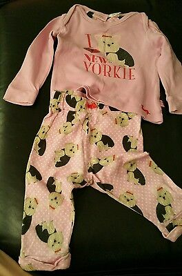 "Size 0 (9-12 months) - PETER ALEXANDER BABY ~ ""I love Yorkie"" Two-Piece pajama"