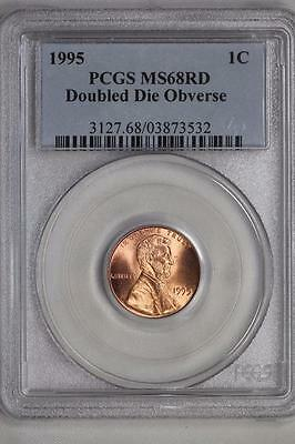 1995 Double Die Obverse Lincoln Cent MS68 RD PCGS US Mint Coin