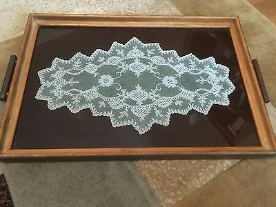 Vintage Antique Wood and Glass Serving Tray -Handles-& Lace Doily Under Glass