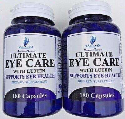 2 X Ultimate Eye Care Lutein 40mg L-Glutatione Supports Eye Health 360 Capsules