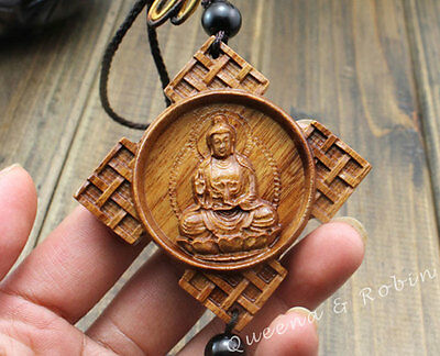 Wood Carving Chinese Knot Quan Guan Kwan Yin Car Pendant Amulet Wooden Crafts
