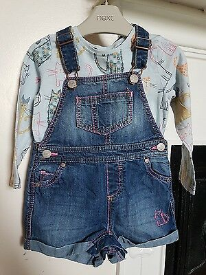Baby girl next cat denim dungs dungaree romper playsuit 12-18 months