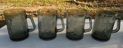Vintage Smoked Glass McDonalds Mugs COMPLETE SET Ronald Grimace Hamburglar Crook