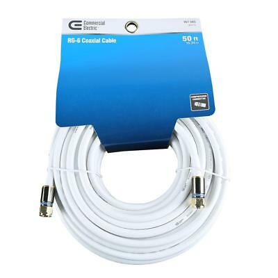 50 Feet White RG-6 75-Ohms Cable for Indoor/Outdoor CATV, Digital Satellite TV
