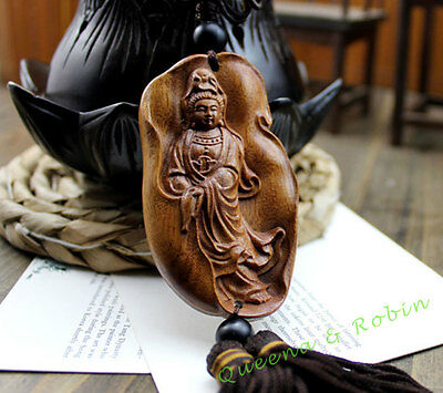 Wood Carving Chinese Guan Kwan Yin Car Pendant Amulet Wooden Crafts Sculpture