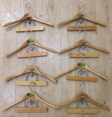 LOT OF 8 VINTAGE COMBO WOODEN HANGERS--SETWELL BRAND--18 inch.  GREAT CONDITION