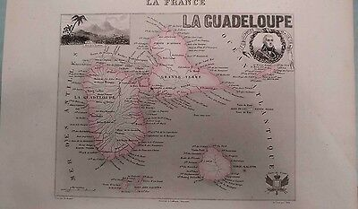 Guadeloupe Lesser Antilles 1700 Steel Engraving Map Soufriere JFC Dugommier