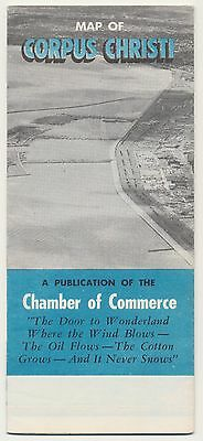 RARE! VINTAGE 1957 CORPUS CHRISTIE CHAMBER Road Map TRAVEL Petroliana Sign RM39