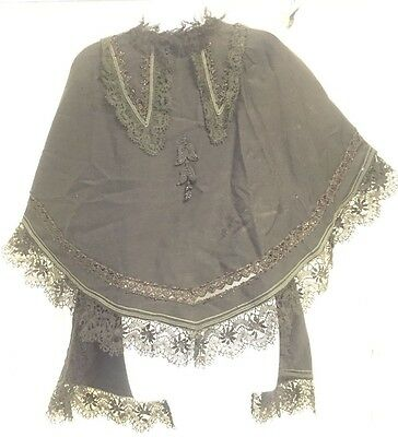Antique Victorian 1800's (1880-1890) Black Wool Lace Beaded Mourning Shawl