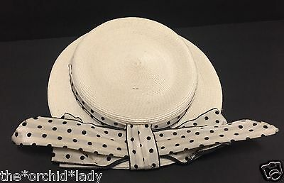 Vintage 1940's 1950's NOREEN FASHIONS Straw & POLKADOTS BOW Hat ~Size 22~