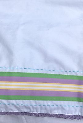 NWT Pottery Barn Kids Baby Lavender Green Yellow Cotton Crib Bed Skirt NEW