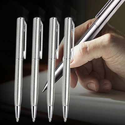 Stainless Steel Ball Point Pen Ballpoint Silver Trim Stationery Office Pens