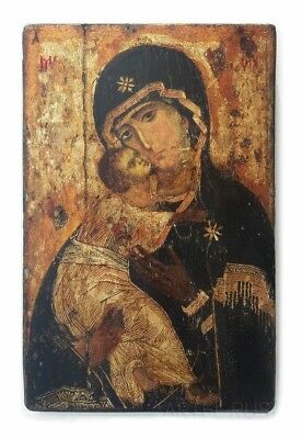 Theotokos of Vladimir. Copy of an antique Russian Orthodox icon. Decor. Handmade