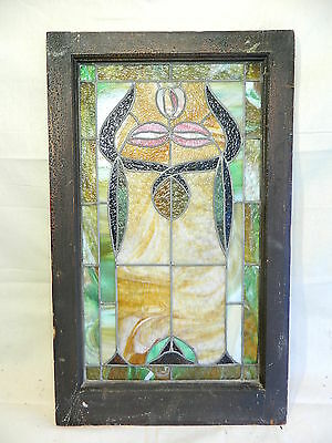 "ANTIQUE LEADED STAINED SLAG GLASS WINDOW, 28""x 16"", BEAUTIFUL COLORS"