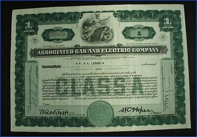 1932 Associated Gas And Electric Co., N.y., 1 Share Stock Certificate